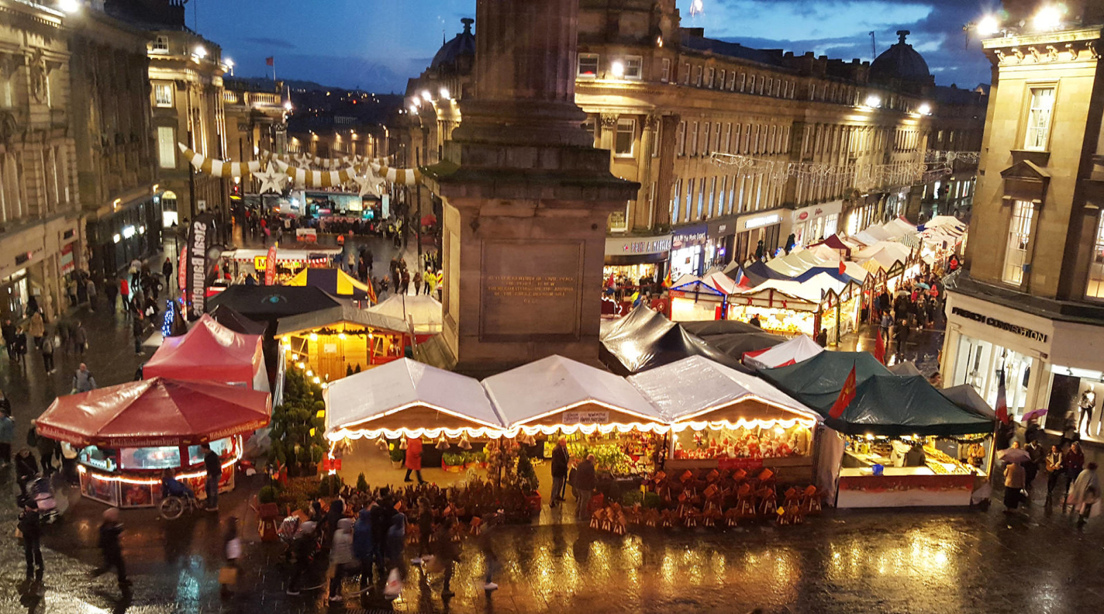 View of Grey's Monument and Christmas markets from the Botanist