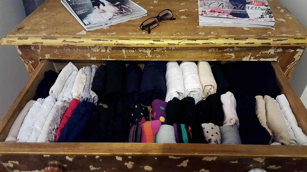My perfectly tidy knicker drawer. Thanks Marie Kondo.