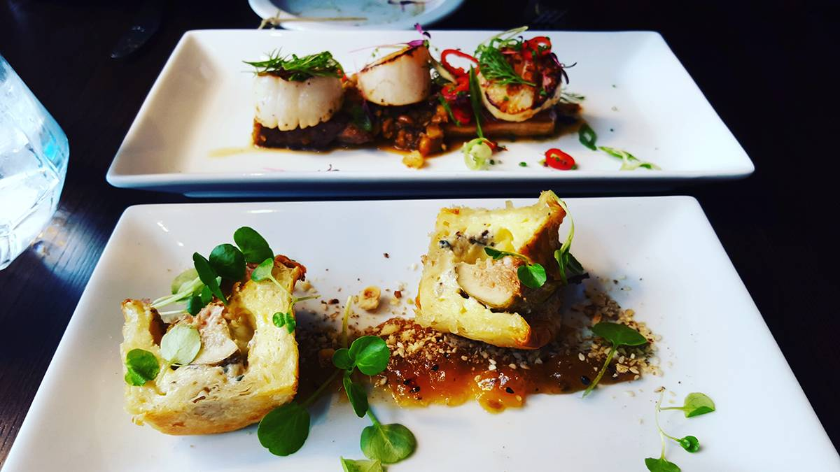 scallops on pork and fig blue cheese filo