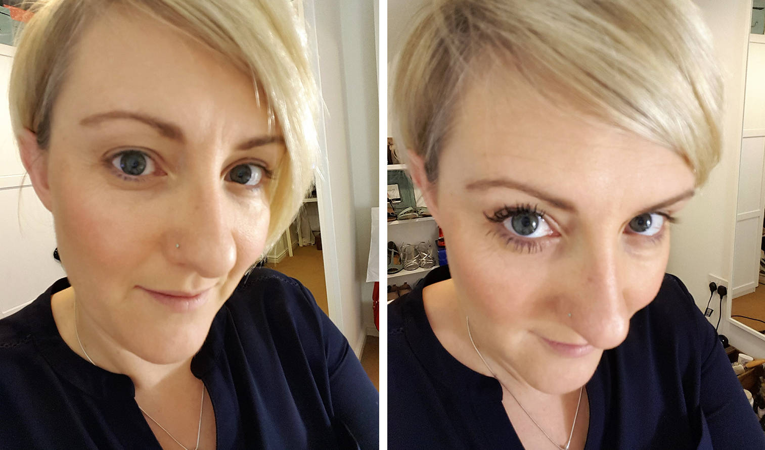 Before and after 3D moodstruck fibre lashes