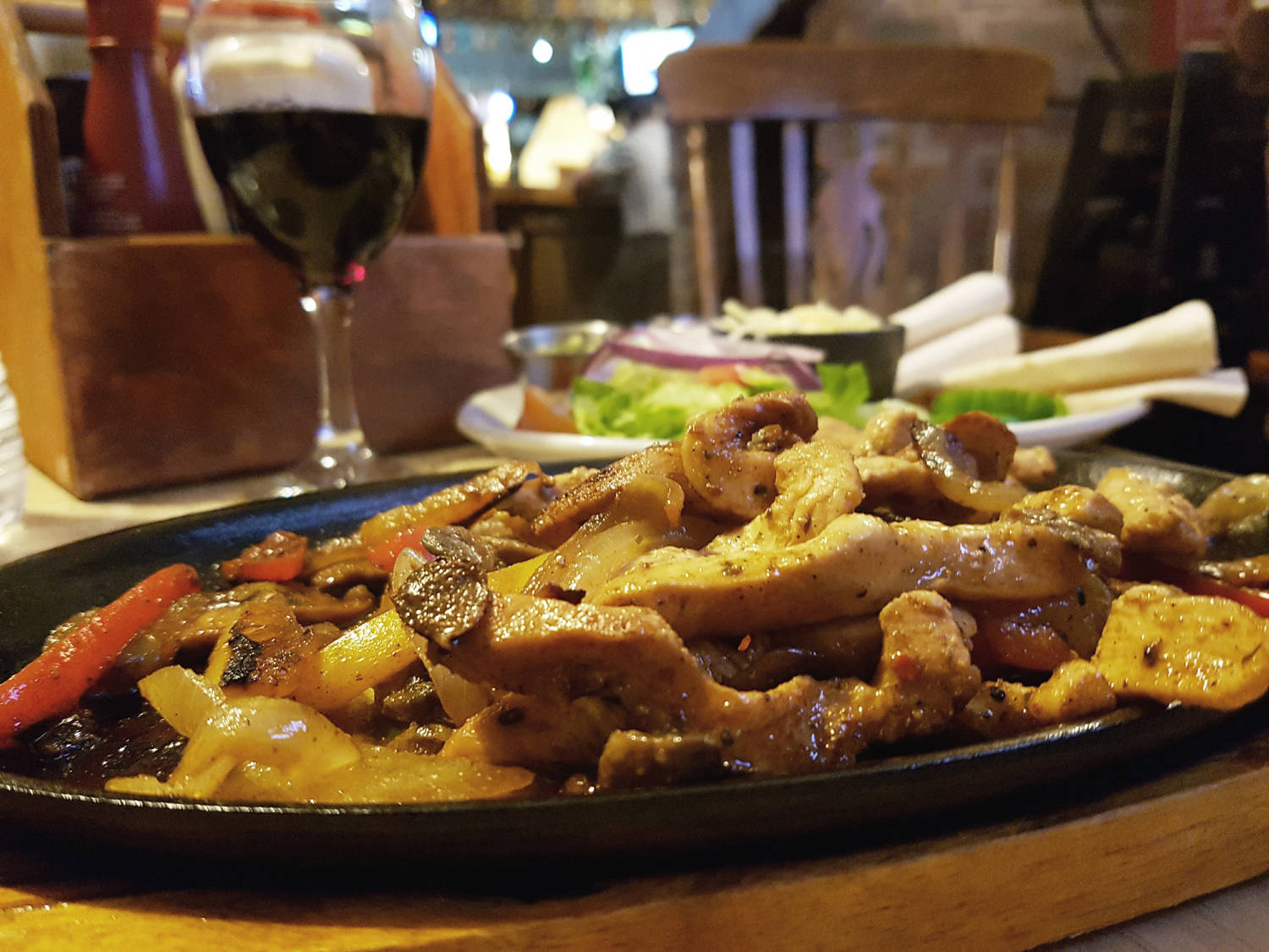 Chicken fajitas at the travellers rest in Consett