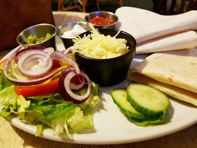 fajitas and cheese and salsa