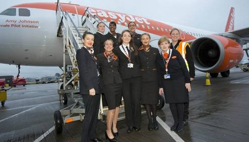 International Women's Day Easyjet celebrates the day with an all female flight and ground operating crew.
